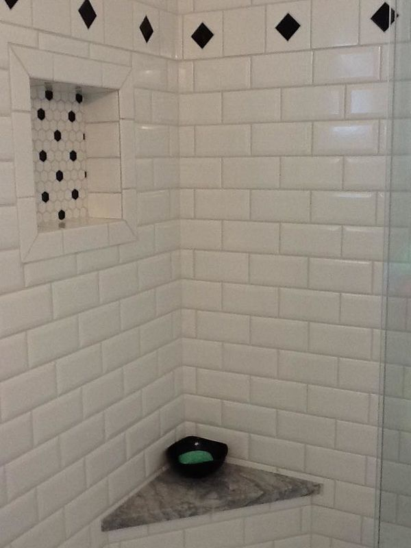 White Subway Tile Shower With Black Accents Black Amp White