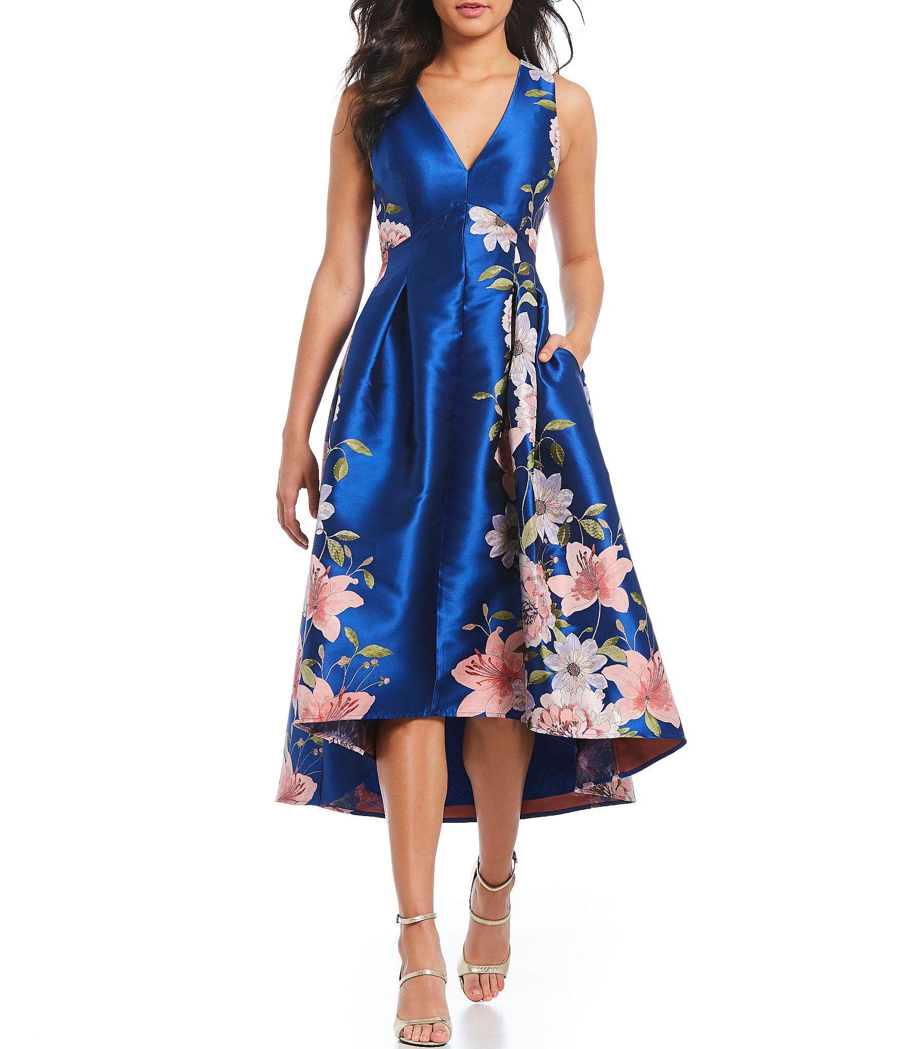 Eliza j vneck floral print hilow ballgown celesteus wedding