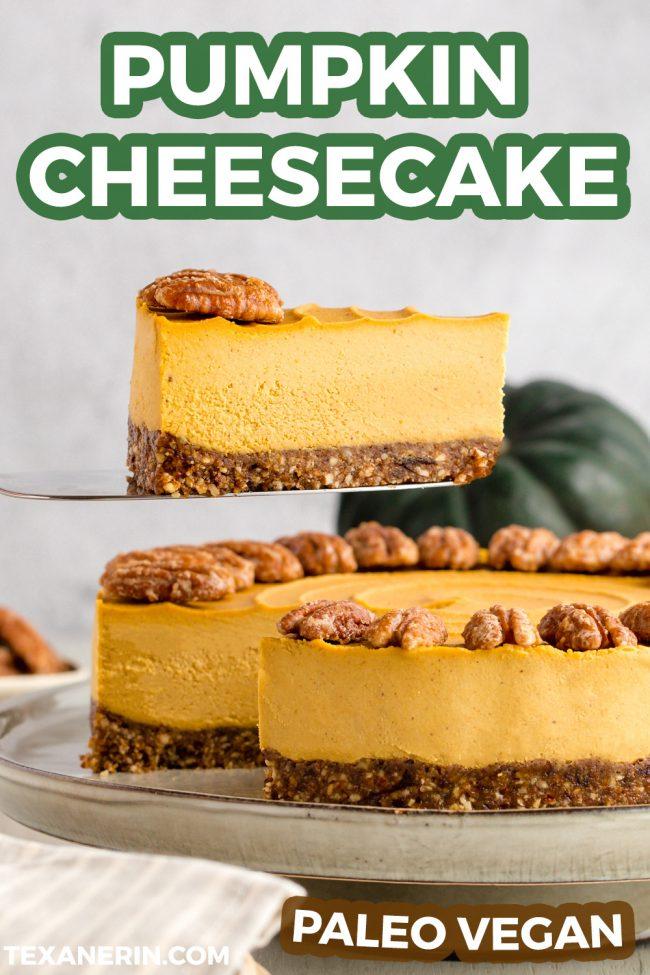 Vegan Pumpkin Cheesecake (paleo, no-bake) - Texanerin Baking #pumpkincheesecake