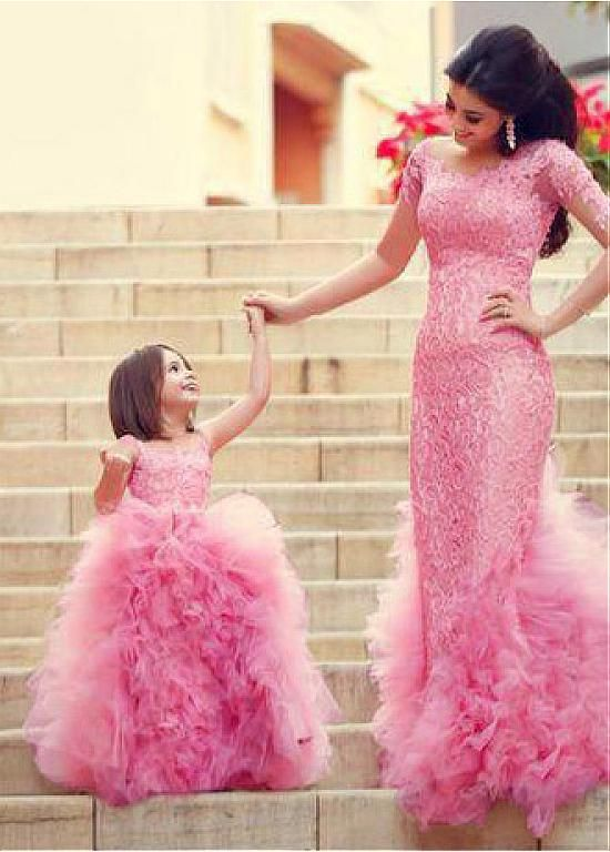 Gorgeous Ball Gown Pink Flower Girl Dresses with Tulle Ruffles ...