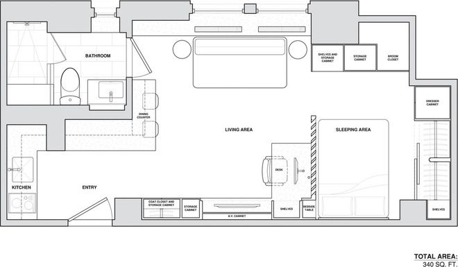 Houzz Tour Ease And Comfort In 340 Square Feet Micro Apartment Small Floor Plans Floor Plans