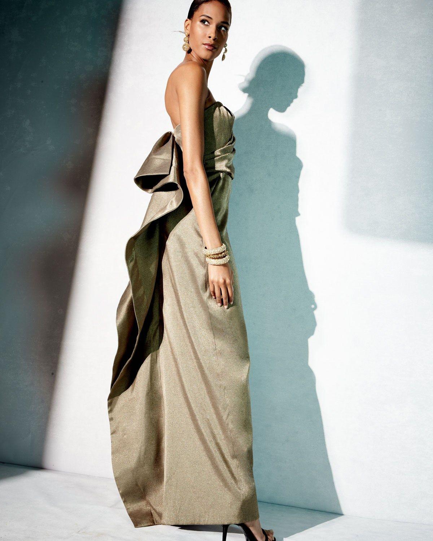 Halston Heritage Strapless Metallic Evening Gown | Vestido de festa ...