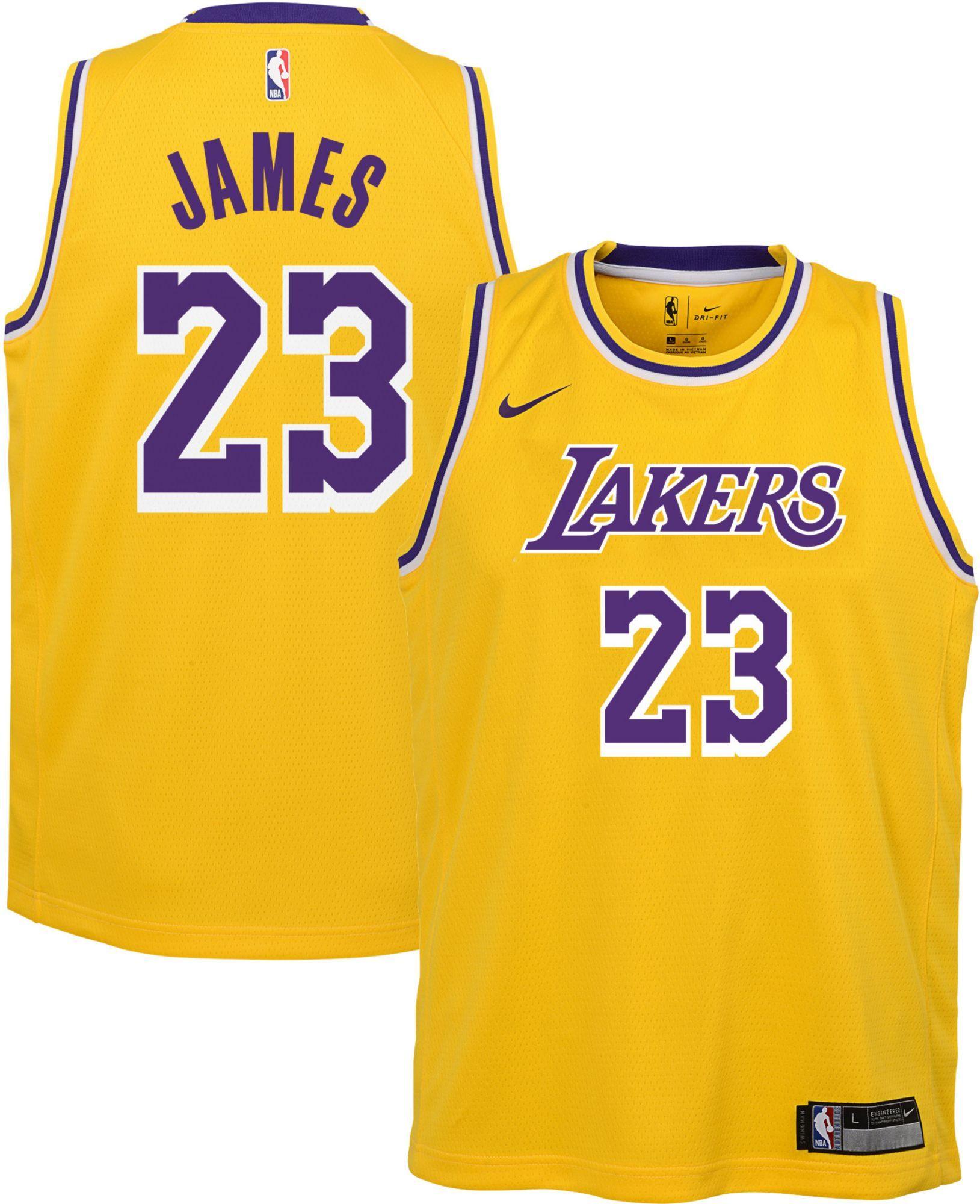 feaeadc33cb9 Nike Boys  Los Angeles Lakers LeBron James  23 Gold Dri-FIT Swingman  Jersey