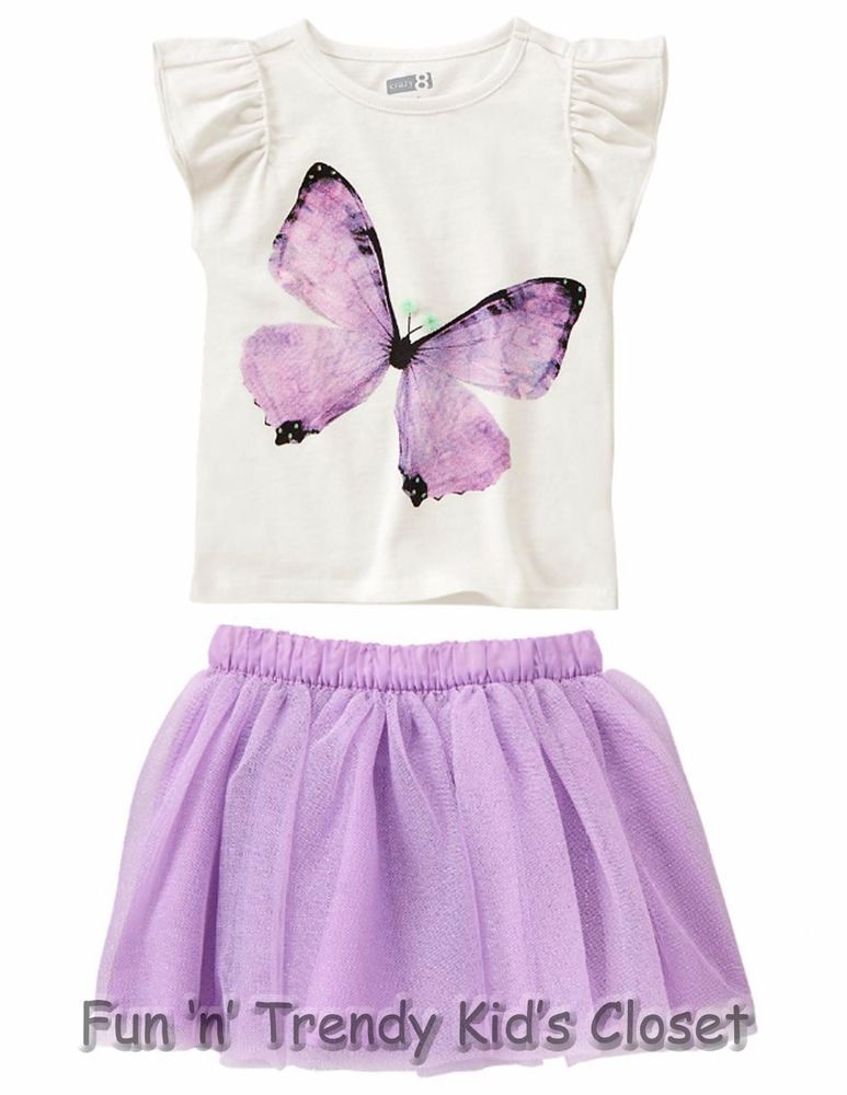 b07ffa94 NWT Crazy 8 Girls Size 2T Butterfly Tee Shirt Top & Sparkle Tulle Tutu 2-PC  SET #Crazy8 #Everyday