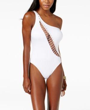 3ad393555eba7 Kenneth Cole One-Shoulder Cutout Tummy-Control One-Piece Swimsuit - White XL