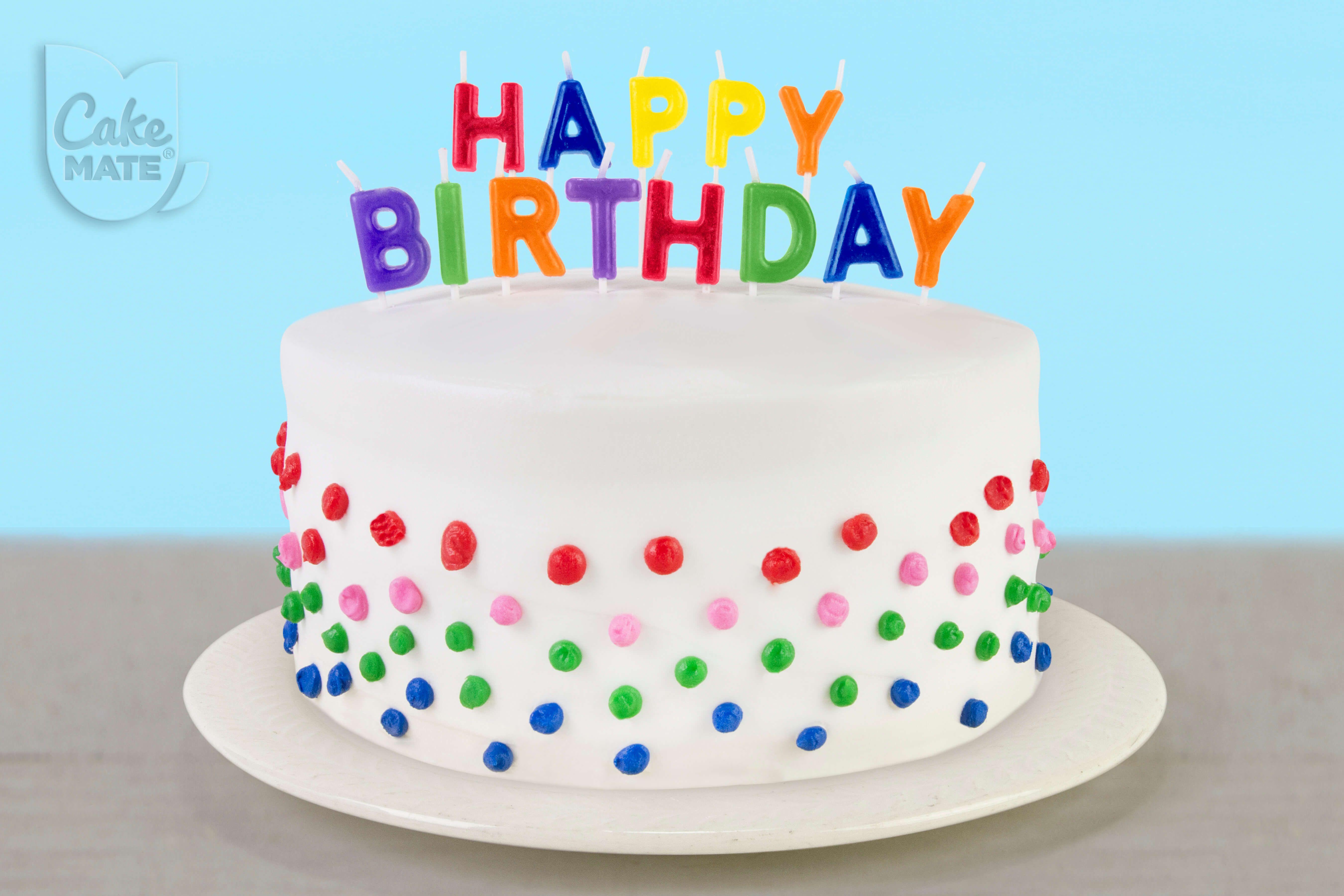Polka Dotted Birthday Cake W Happy Birthday Candles Easy Cake Cake Mix Ingredients Polka Dot Cakes