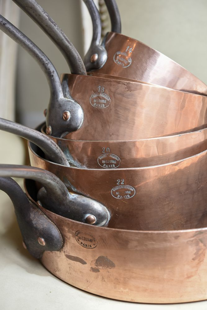 Rare Set of 7 Graduated Antique French Copper Pans Marked, 'Grands Magasins du…