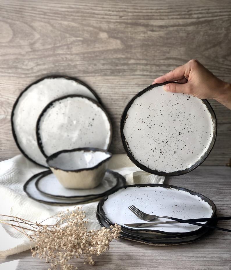 White Bronze Gold Dinnerware Set Pottery Ceramic Plates Salad Etsy In 2020 Gold Dinnerware Ceramic Dinnerware Set Dinnerware Set