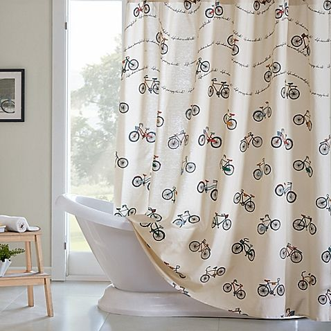 Make Your Shower Retro Chic With The HipStyle Raleigh Printed Curtain Decked Out In