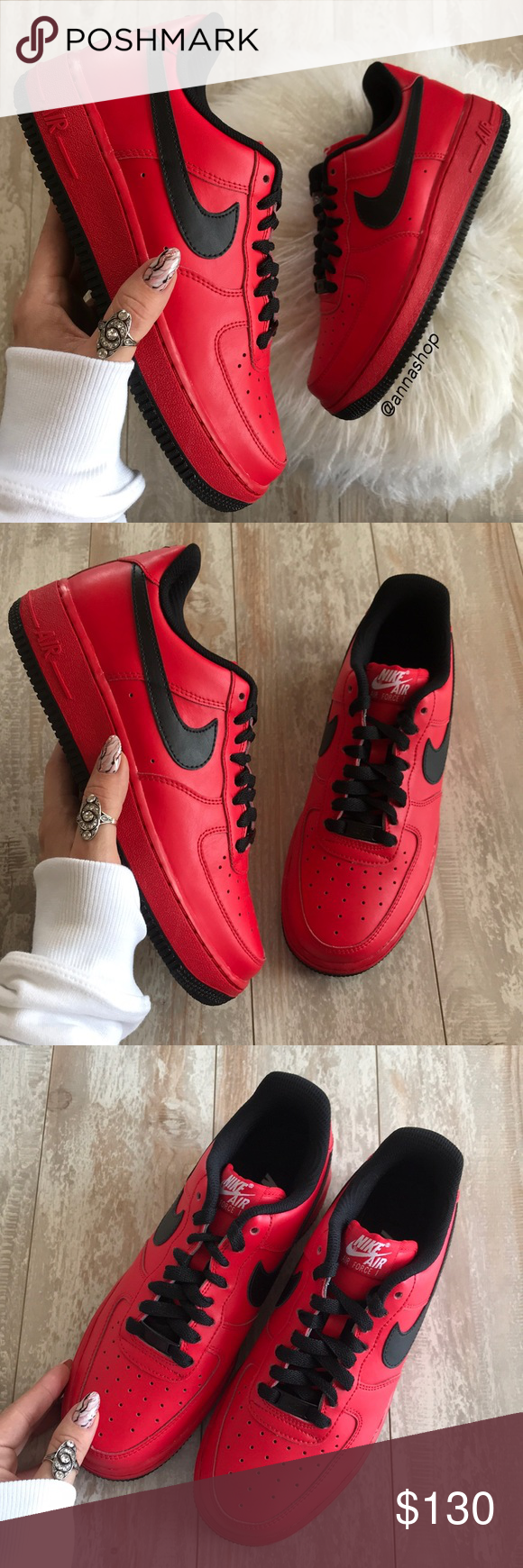 Nwt Nike Id Air Force 1 Custom Red On Black Clothes Design