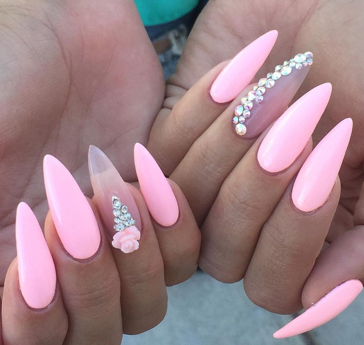 Love the pink with a clear nail | Ovel & Stiletto Nails | Pinterest ...