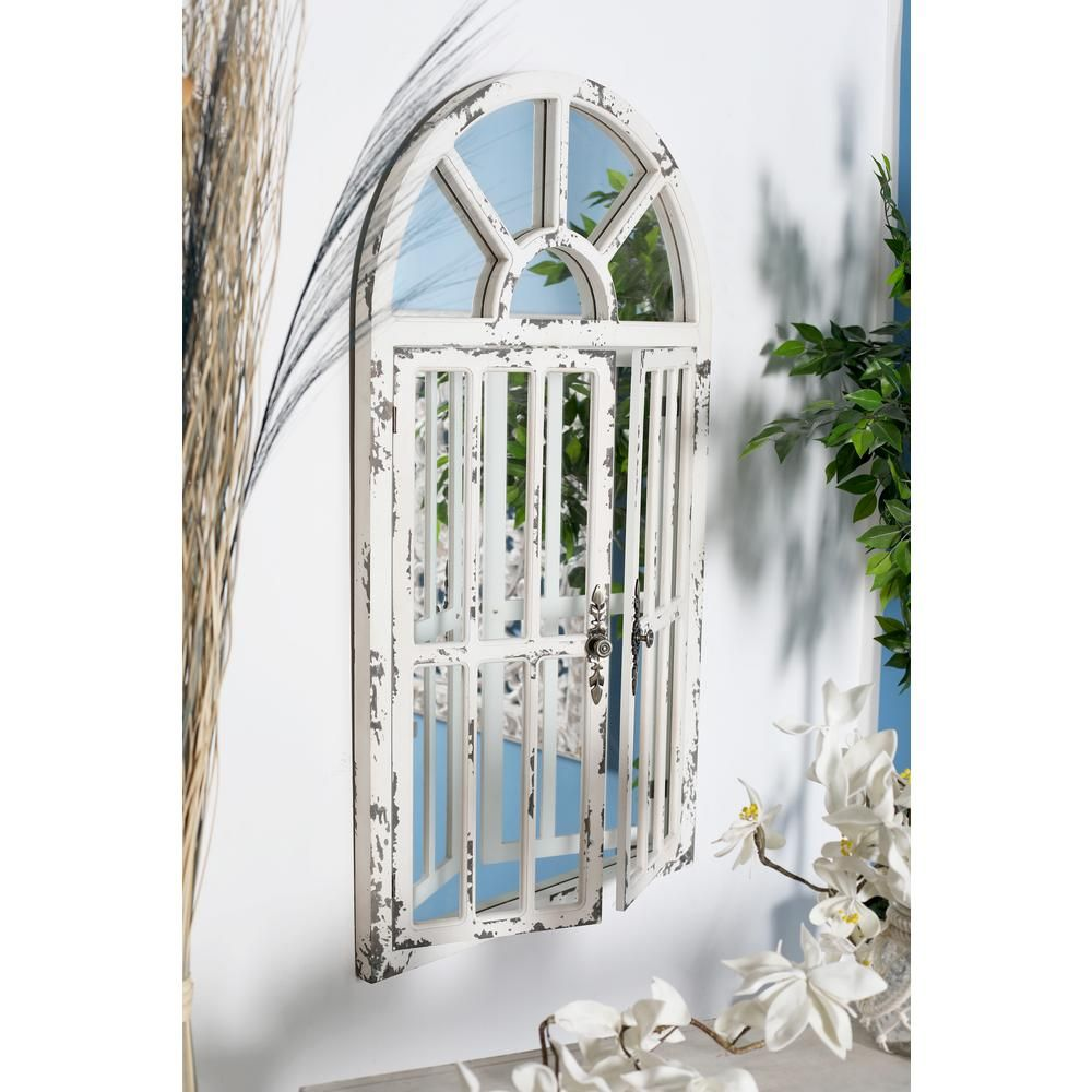 Litton Lane Arched Window Distressed White Decorative Wall Mirror Mirror Panels Traditional Wall Mirrors Mirror