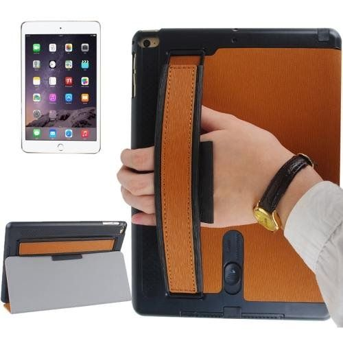For+iPad+Air+2+/+iPad+6+Brown+Toothpick+Expand+Sound+Handheld+Smart+Cover+Leather+Case+with+Holder