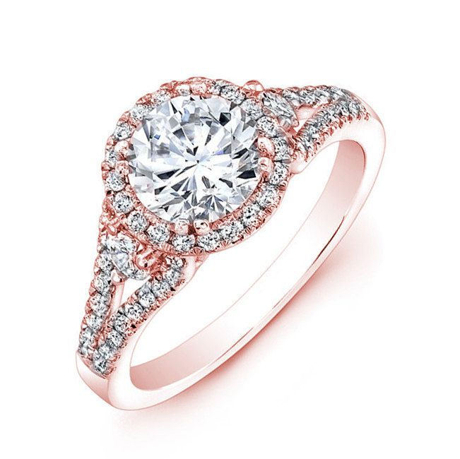 Round Diamond Rose Gold Engagement Ring Pave Set by EJCOLLECTIONS