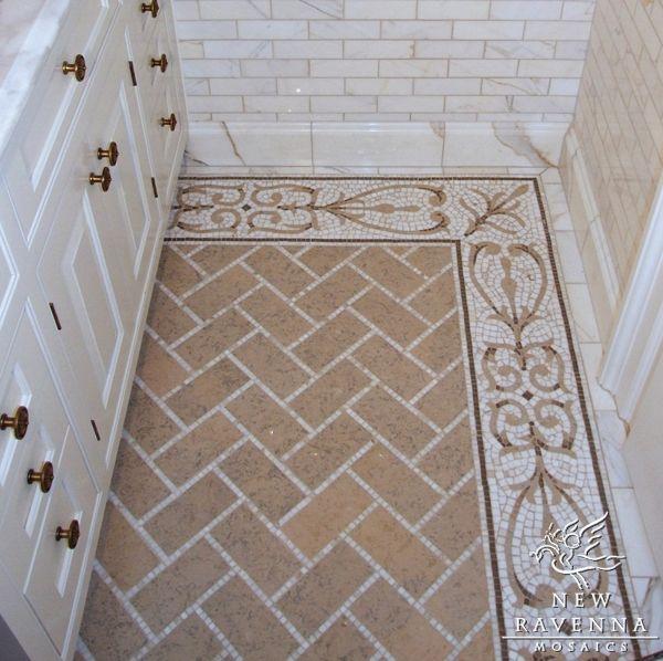 Bathroom Tiles Mosaic Border: Herringbone Tile Floor Design In Sandy Gold. Subway Wall