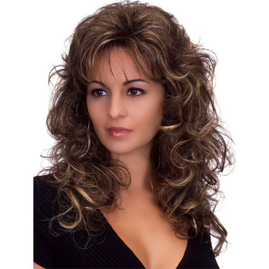 Details about long wavy curly full hair wigs brown lady