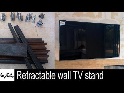 Retractable Wall TV Stand   YouTube