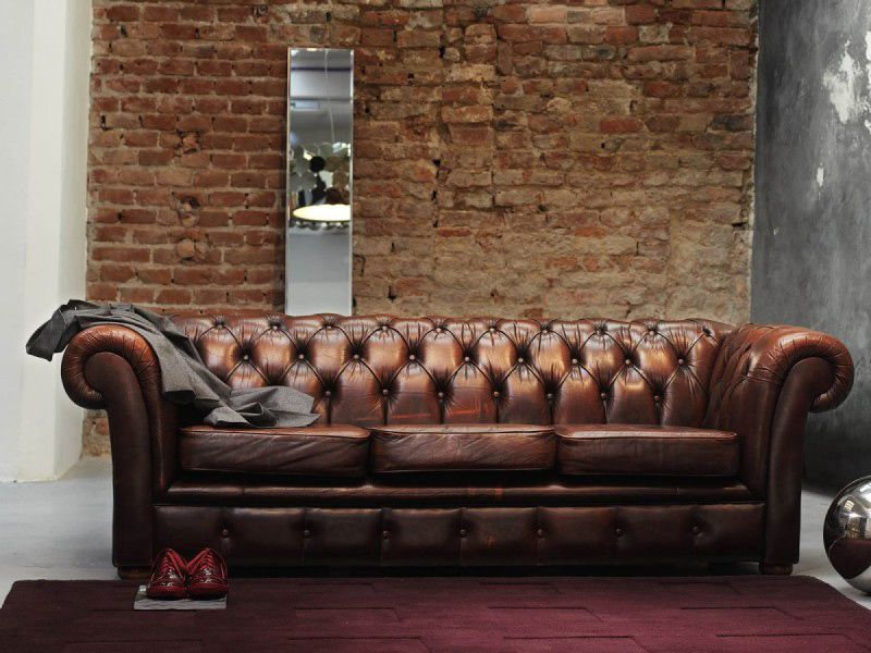 Cool Interiors With Exposed Brick Walls Brown Leather Sofa