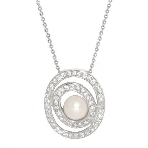 "Sterling Silver Freshwater Cultured Pearl Double Oval with Cubic Zirconia Pendant Necklace -Necklace, 18"" Amazon Curated Collection. $61.00. Made in China"