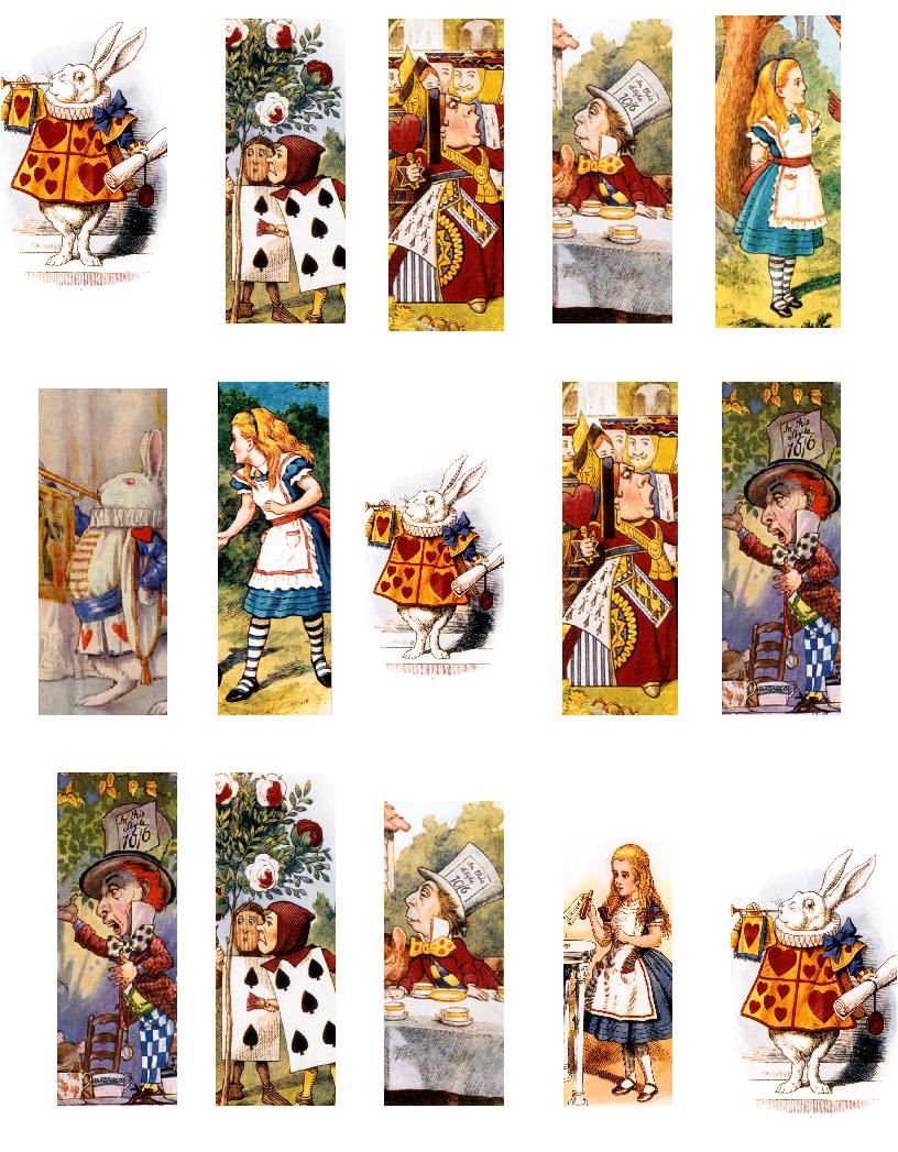 12 Alice in Wonderland Vintage Post Card Style Mini Gift Tags