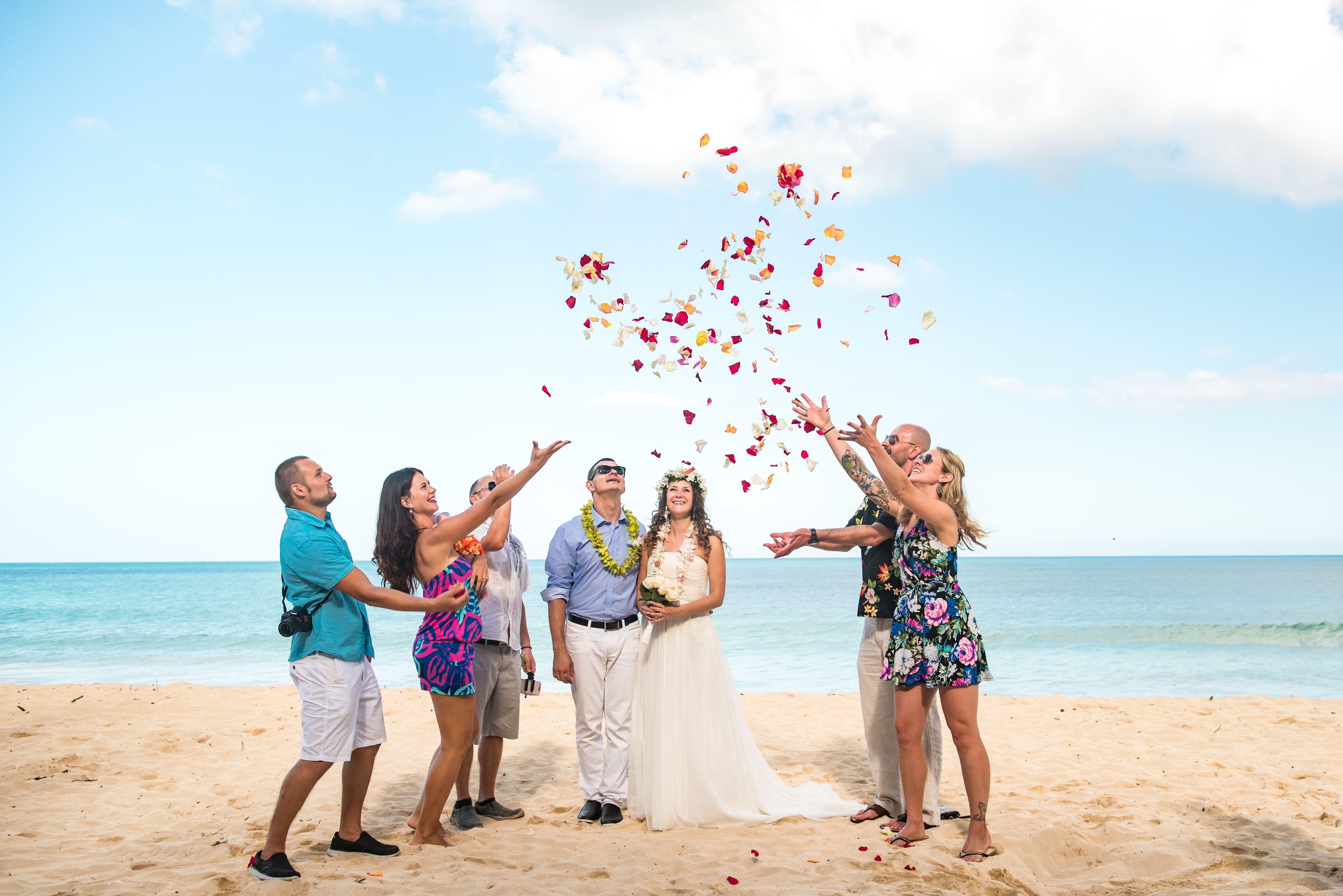 Rose Petal Flower Shower by Islander Weddings Beach
