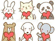 ハートを持つ動物 ウサギ ネコ パンダ クマ イヌ ゾウ イラスト素材 猫