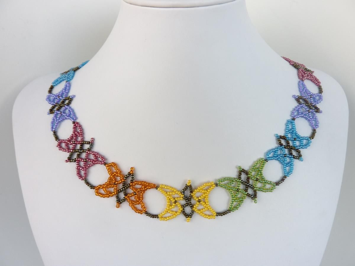 free beading pattern for colorful and lacy butterfly necklace made