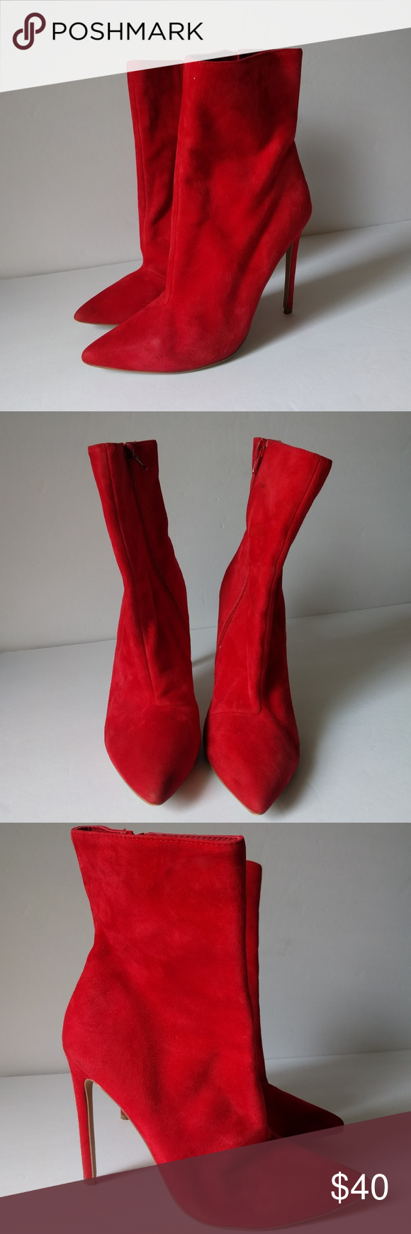 2ef659694a6 Steve Madden 8 Red Wagner Leather Stiletto Booties Steve Madden ...