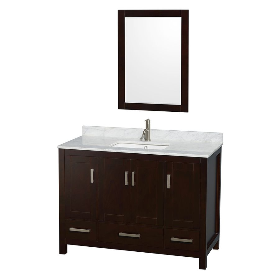 birch bathroom vanities. Wyndham Collection Sheffield Espresso 48-In Undermount Single Sink Birch Bathroom Vanity With Natural Marble Top (Mirror Vanities .