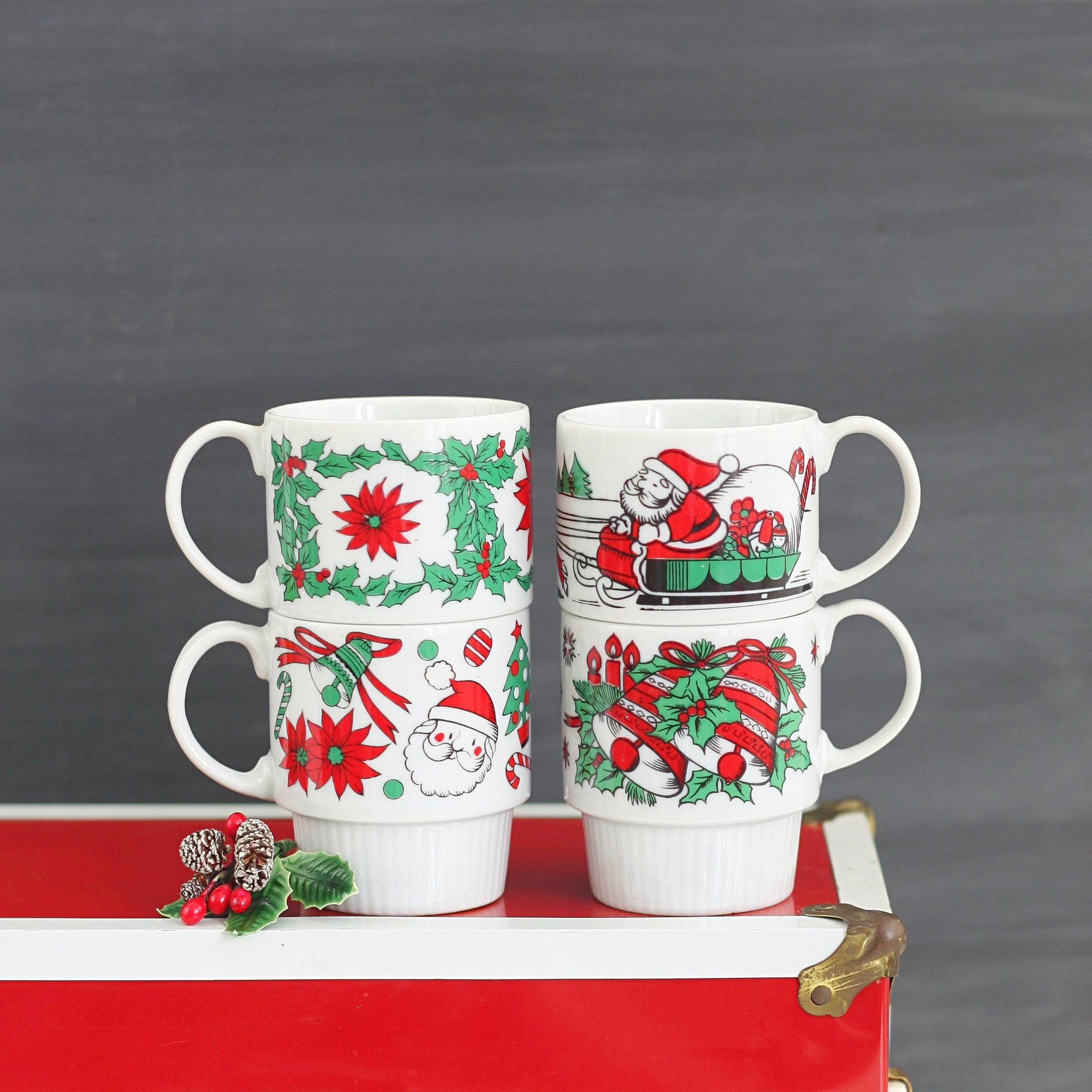 Mid Century Stacking Christmas Mugs