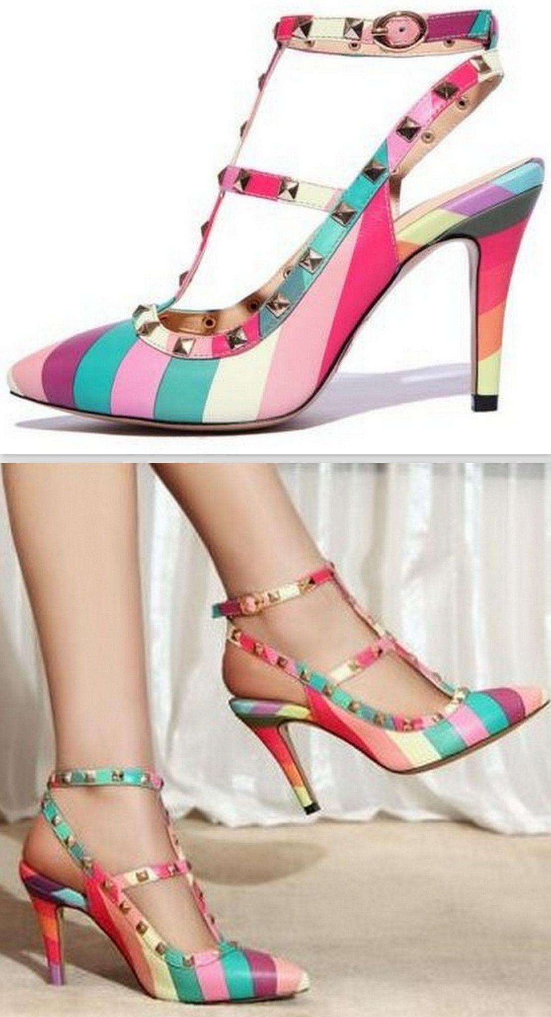 76c53f315c39 Rainbow Rockstud Slingback Leather Sandals