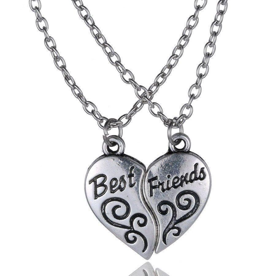 New Best Friend Heart Silver Tone 2 Pendants Necklace Bff Friendship Friend Necklaces Best Friend Necklaces Necklace For Girlfriend