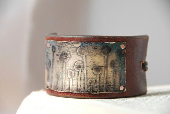 Brass Etched Bracelet With Geometric Garden by AnvilsAndAlchemy, $65.00