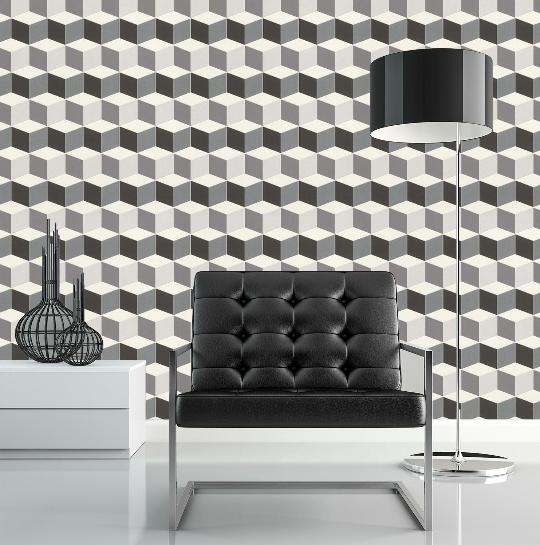 Details About 3D Effect Geometric Square Wallpaper Paste