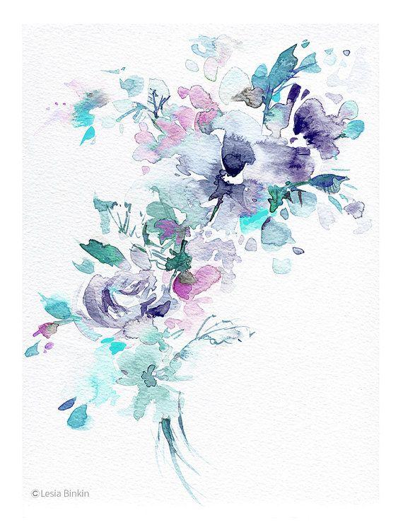 Aquarelle Fleurs Peinture De Fleurs Aquarelle Par Lesiabinkinart