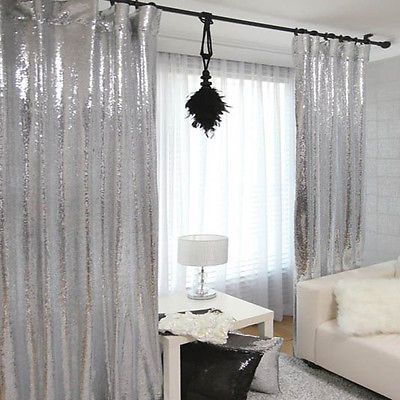Handmade Silver Sequins Drops Single Curtain Glitter Drapery Panel Made To Order Sequin Curtains Silver Curtains Home Decor