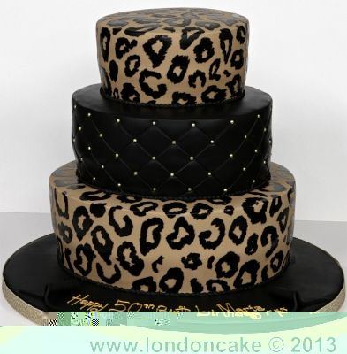 Awe Inspiring 3 Tier Leopard Print Cake London Cake With Images Leopard Funny Birthday Cards Online Inifofree Goldxyz