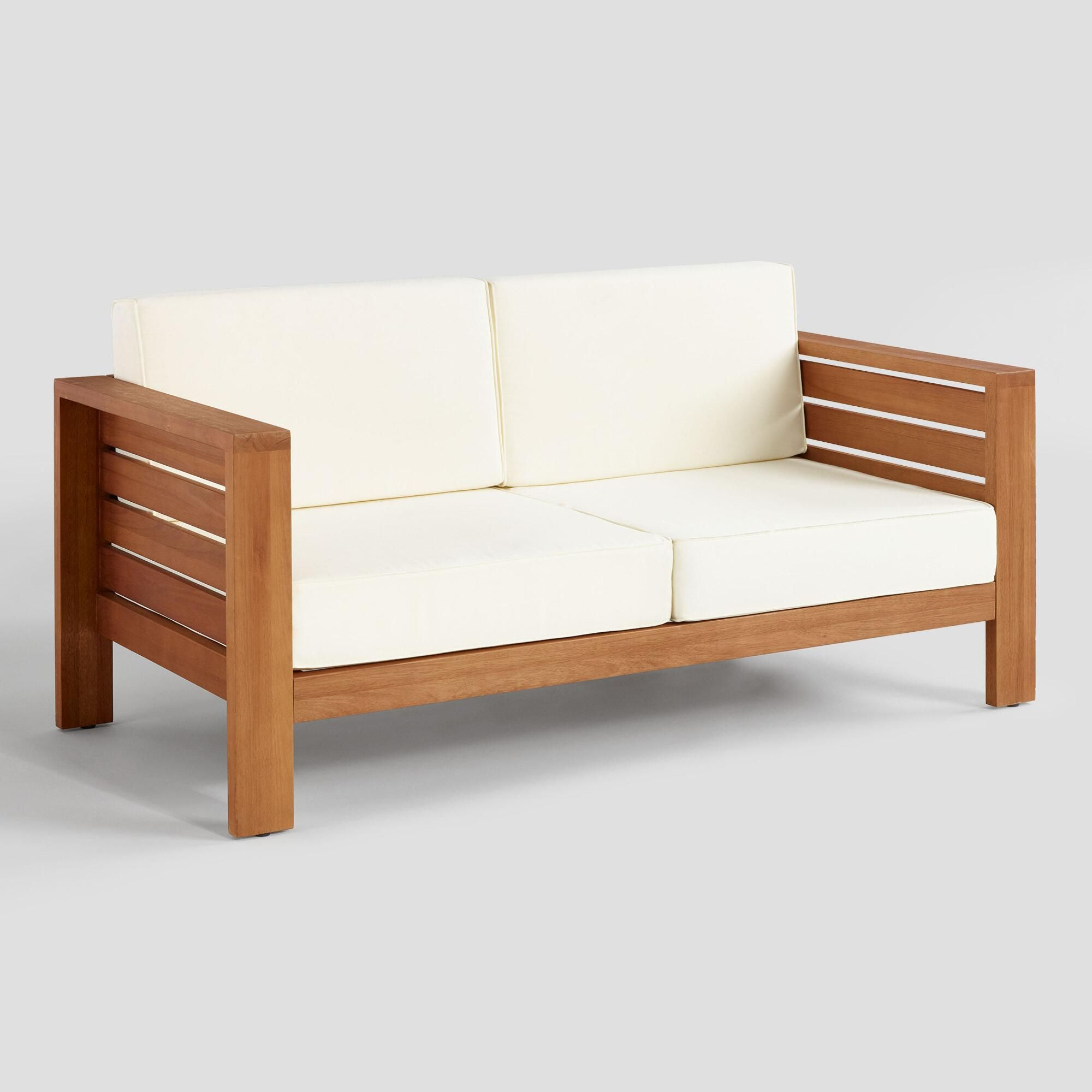 Wood Formentera Outdoor Patio Occasional Bench By World Market Wooden Sofa Designs Wooden Bench Outdoor Wooden Sofa