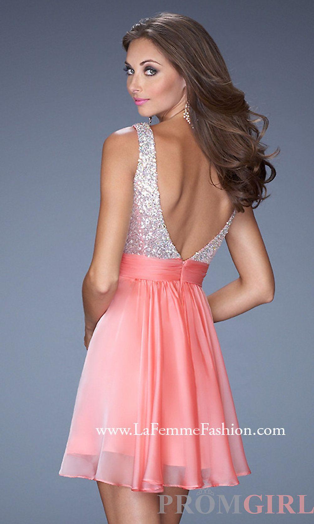 Short Sleeveless Open Back Dress by La Femme | Dresses | Pinterest ...