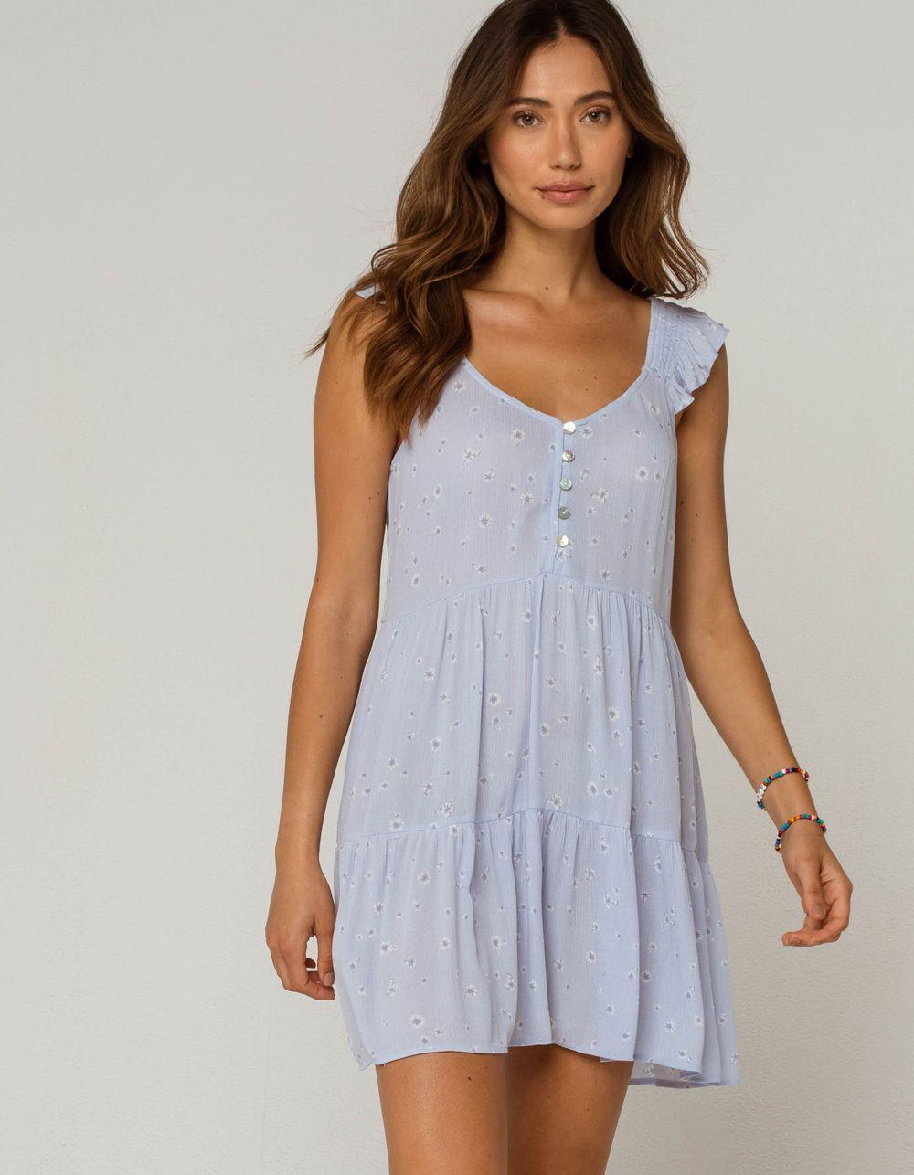 Sky And Sparrow Ditsy Ruffle Tiered Light Blue Babydoll Dress Ltblu 369185221 Babydoll Dress Dresses Blue Babydoll Dress [ 1286 x 1000 Pixel ]