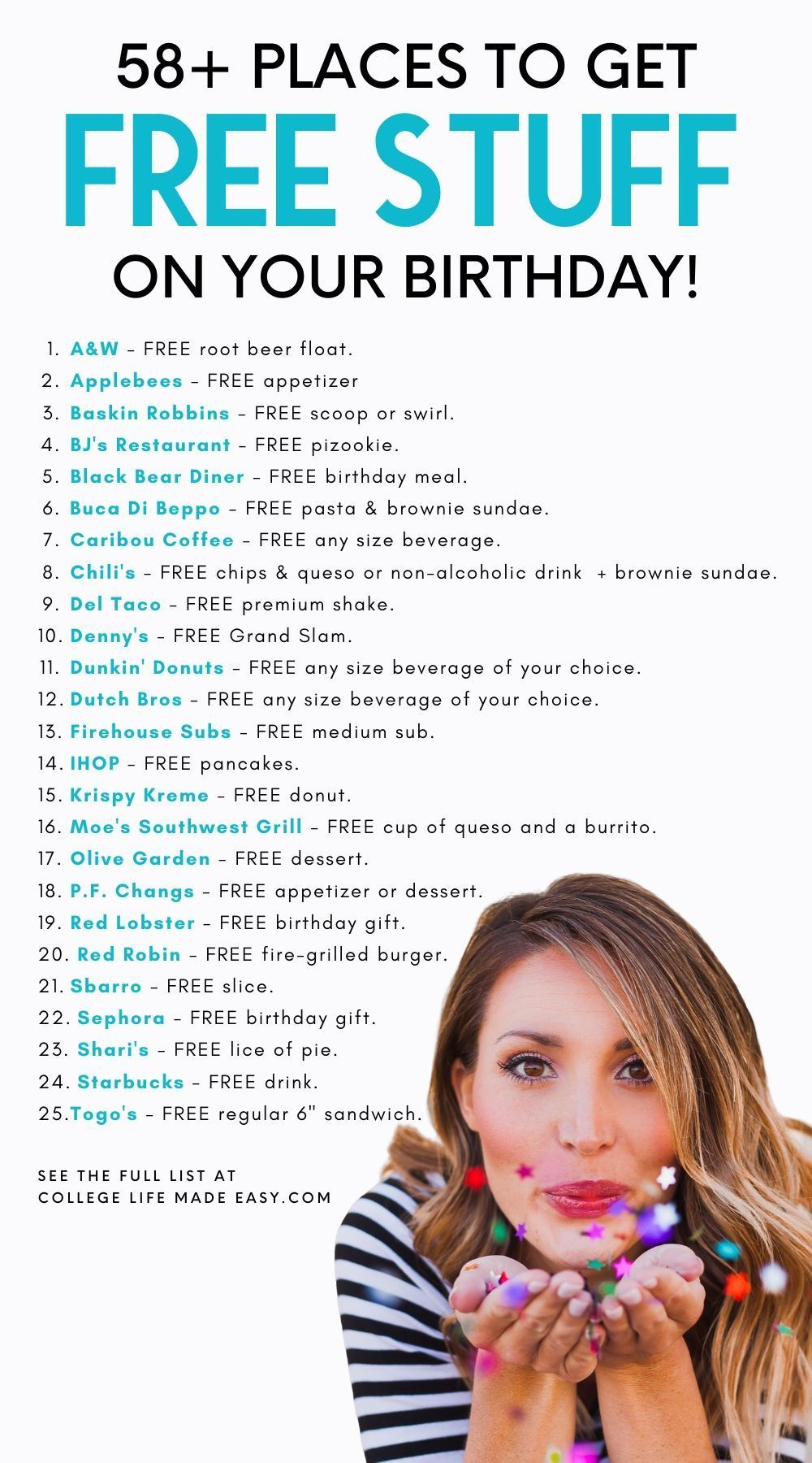 58 Birthday Freebies You Can Score This Year Birthday Freebies Useful Life Hacks Free Birthday Stuff