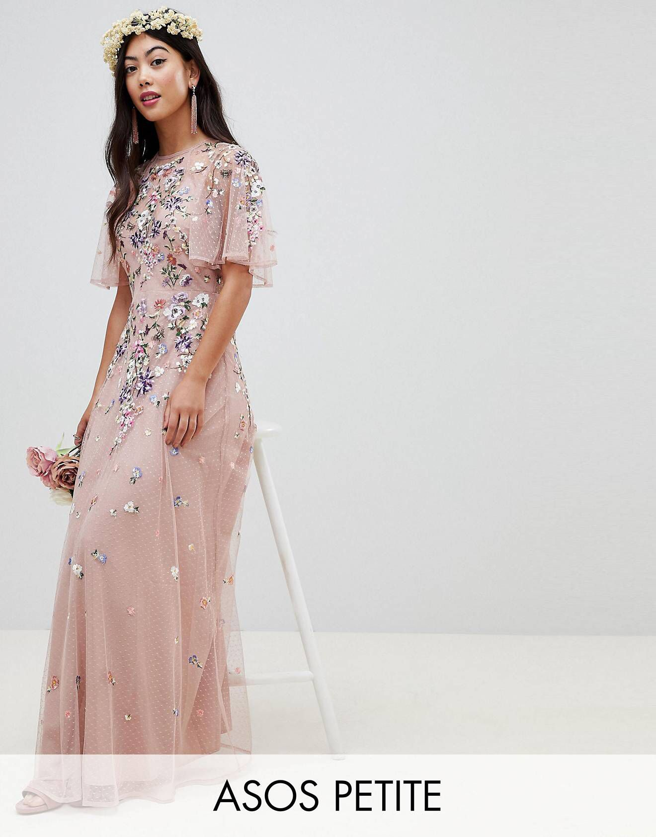 d4df2733907 Asos Wedding Floral Embroidered Dobby Mesh Flutter Sleeve Maxi Dress