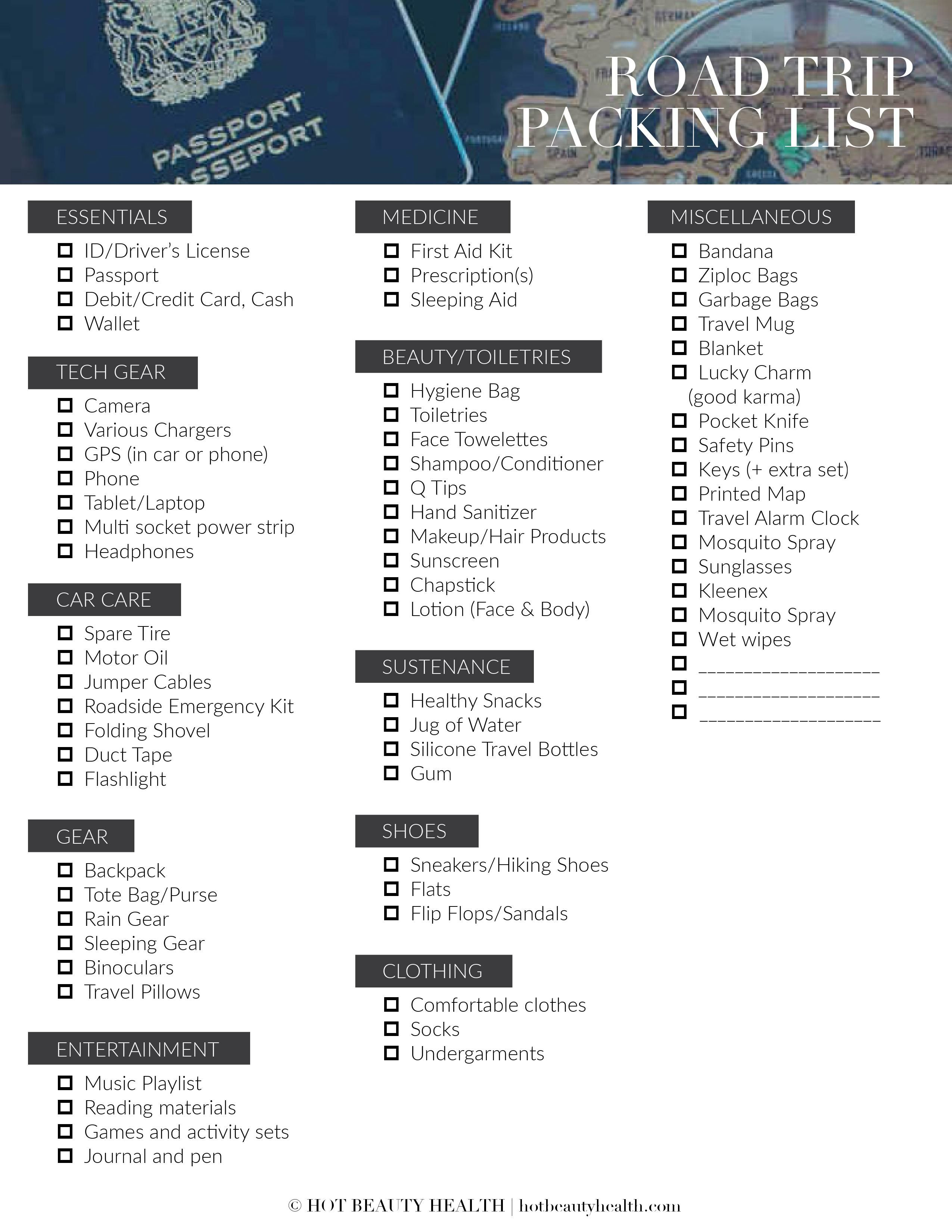 755a26caaafa Free road trip packing list printable! Planning to go on a little travel  adventure this spring