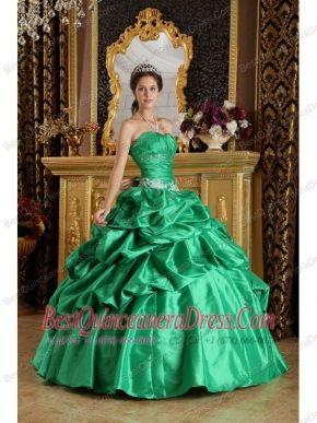 d2e10d201a Green Ball Gown Strapless Floor-length Taffeta Beading Sweet 16 Dress