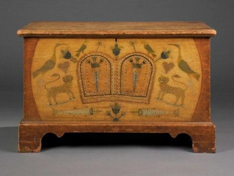 A Rare and Important Pennsylvania-German Decorated Chest, Related to ...