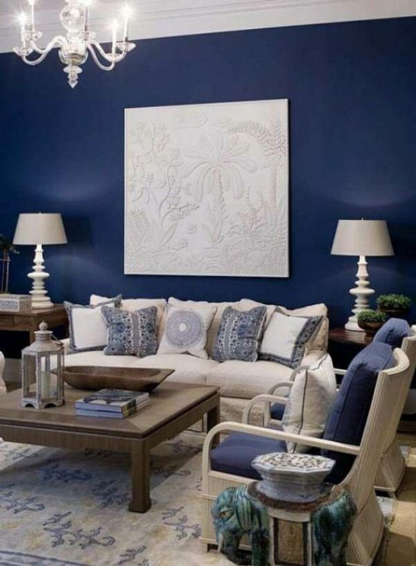 Wohnzimmerwand ideen blau  Wandfarben fürs Wohnzimmer - 100 Wohnideen für Ihre Wandgestaltung ...