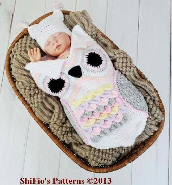 How cute! A little baby pouch knitted like an owl!! | baby apparel ...