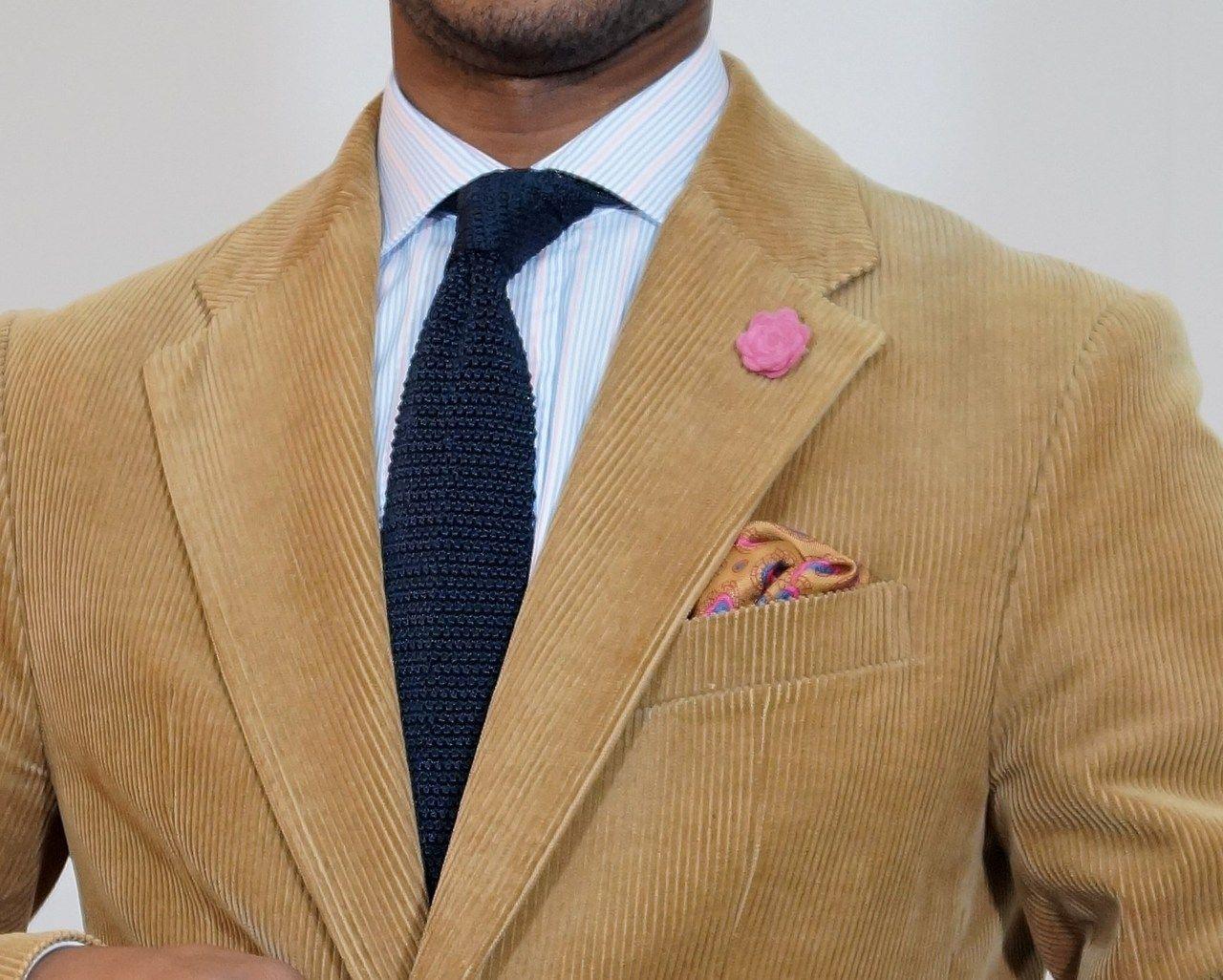 Tan corduroy jacket, light blue shirt with pink & white ...