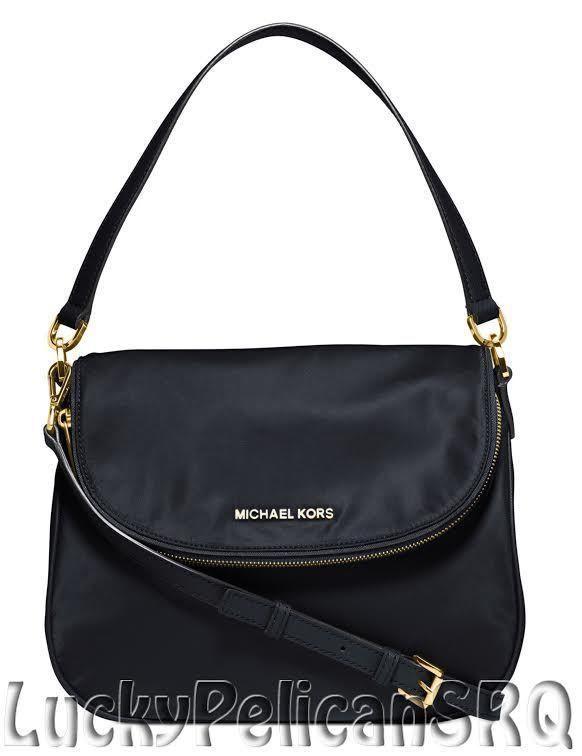 michael kors bedford medium nylon shoulder bag handbag navy blue nwt rh pinterest com