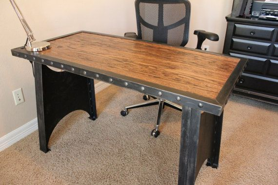 Vintage Industrial Office Desk Steampunk Table Riveted Table